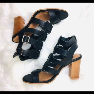 QUPID Faux Leather Gladiator Block Heels